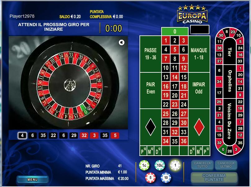 Roulette Live Europa Casino