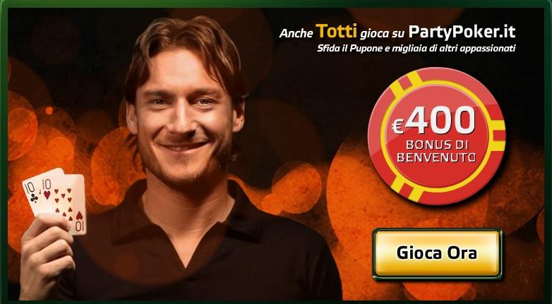 Gioca i tornei con Totti su Party Poker