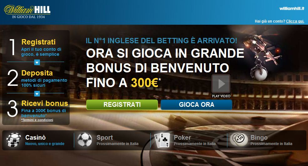 William hill bonus benvenuto casino