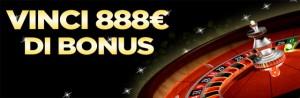 Alla roulette di 888 Casino ti aspetta un fantastico Bonus fino a 888 euro.