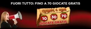 Arriva il Fuori Tutto su 888 Casino che ti offre fino a 70 giocate gratis alla slot Cavalieri e Dame.