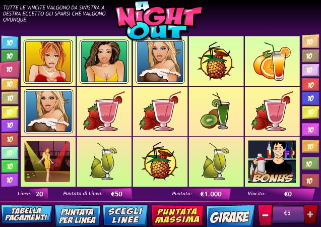 Gioca gratis alla Slot Machine A Night Out - Recensione